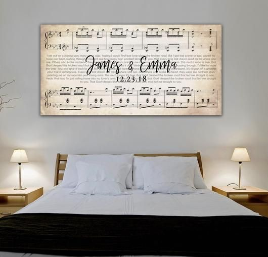 Sheet music of your wedding sogn with names and date. Perfect wedding our anniversary gift idea
