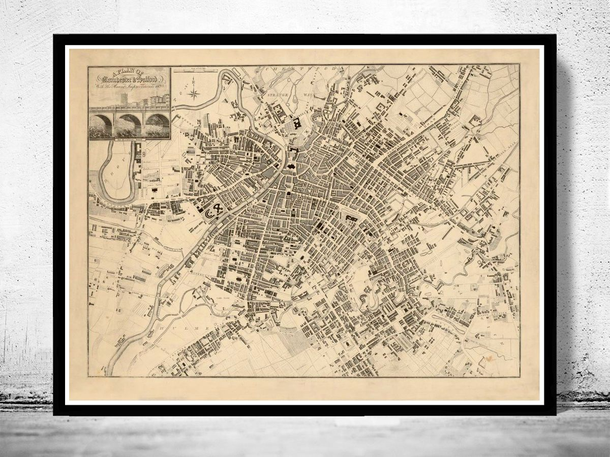 Old Map of Manchester and Salford 1825 - VINTAGE MAPS AND PRINTS
