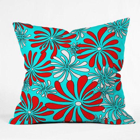 Madart Inc Swirly Flower Aqua Red Throw Pillow