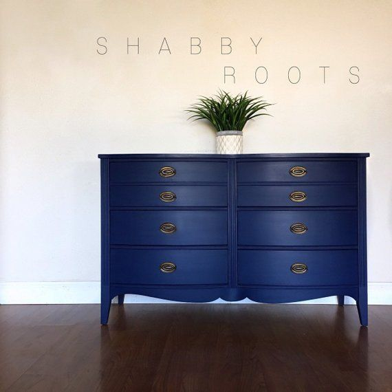 SOLD- Antique federal bedroom set in blue. Dresser and two ...