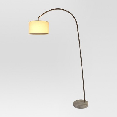 Avenal Shaded Arc with Marble Base Floor Lamp Nickel Lamp ...