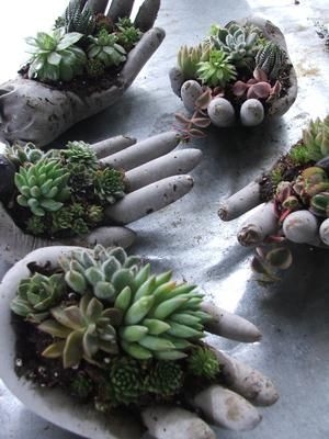 Quite handsome....:) Hypertufa mixture in surgical gloves. Poke holes in ends of fingers to let out air and drape palm down on top of a spray paint can ...makes good pocket for soil and gives a natural half closed hand look.