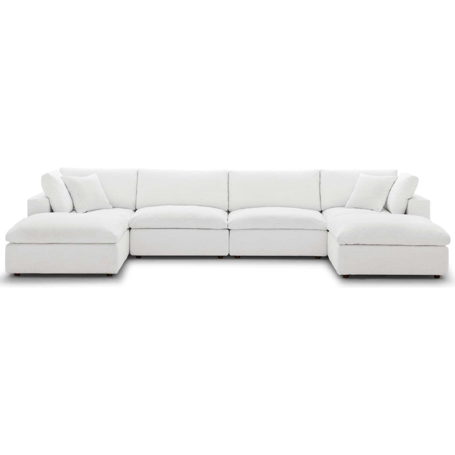 Modway Eei 3362 Whi Commix Down Overstuffed 6 Piece Modular Sectional Sofa White Fabric Modular Sectional Sofa Sectional Sofa Modular Sofa