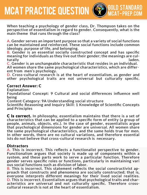 Mcat practice question on essentialism gold standard mcat prep mcat practice question on essentialism gold standard mcat prep fandeluxe Image collections