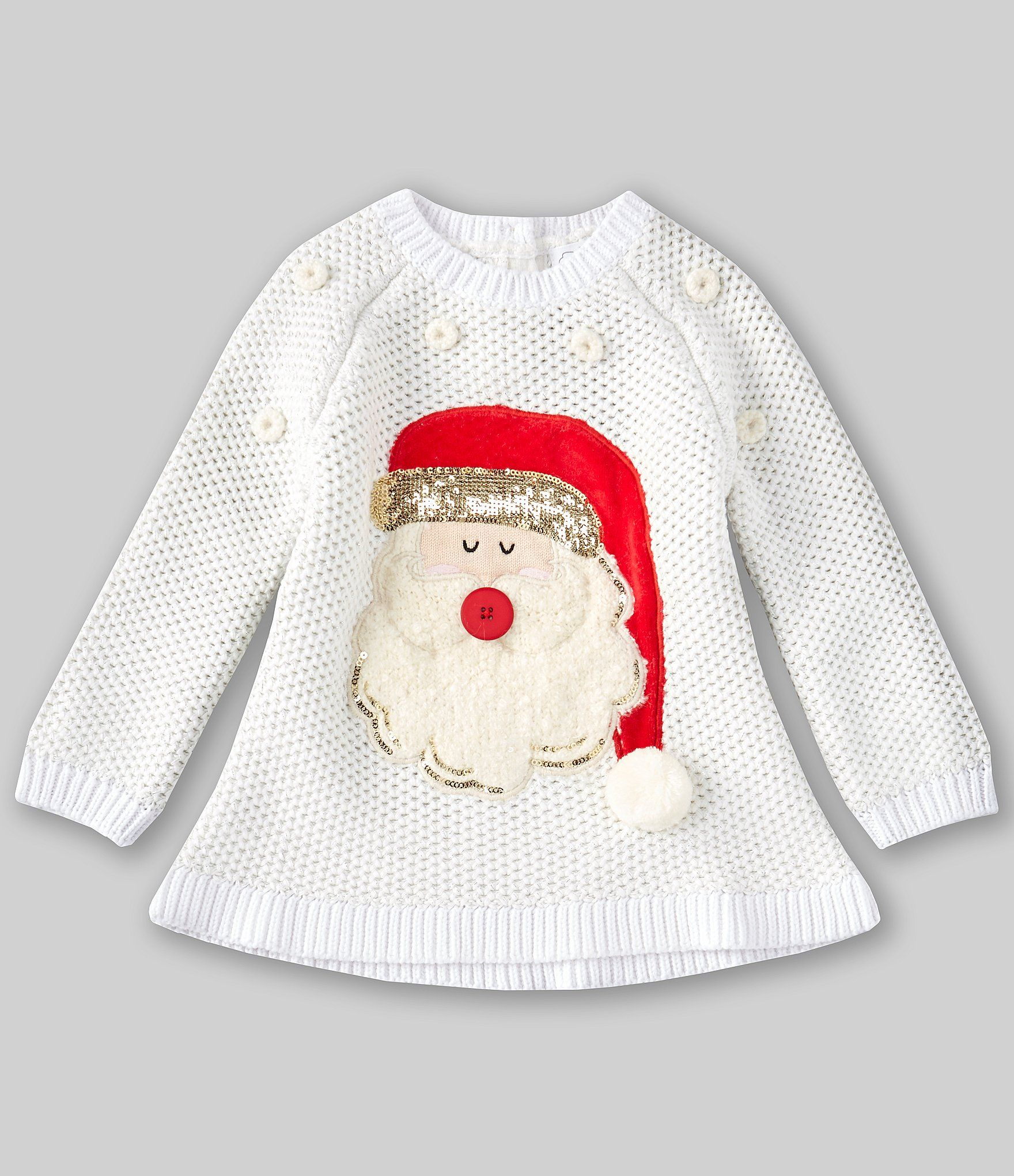 Photo of Mud Pie Baby Girls 12-24 Months Santa-Applique Crocheted-Knit Sweater – Natural 24 Months