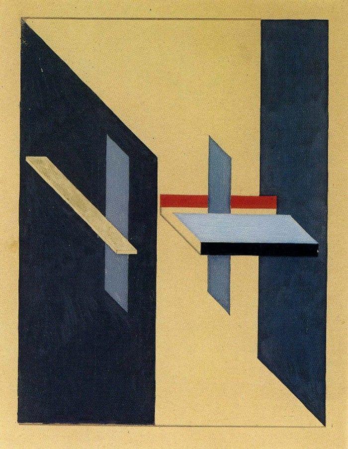 <Proun-4>, El Lissitzky, 1920, constructivism(구성주의) 간결하지만 단조롭지 않은 구성의 작품이라는 생각이 들었다. 전체적으로 푸른 계열의 색을 띠고 있지만, 명도차를 달리하여 좀 더 다채로워 보인다. 붉은 색의 사각형으로 포인트를 주면서 시선을 집중시키는 점도 좋고, 입체로 만들기에도 좋을 것 같아 선정했다. 면적인 요소가 많이 들어가 있는 작품이니만큼, 3차원으로 구성할 때 투박하게 보이지 않으면서도 얼마나 깔끔하게 마감처리를 하느냐가 관건일 것 같다.
