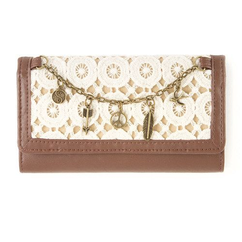 Tri-Fold Wallet with Crochet Detail and Charms | Claire's
