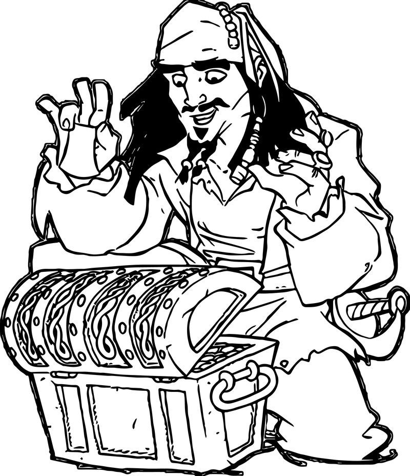 Pirates Of The Caribbean Man Character Jack Sparrow Treasure Coloring Page Man Character Pirates Of The Caribbean Jack Sparrow