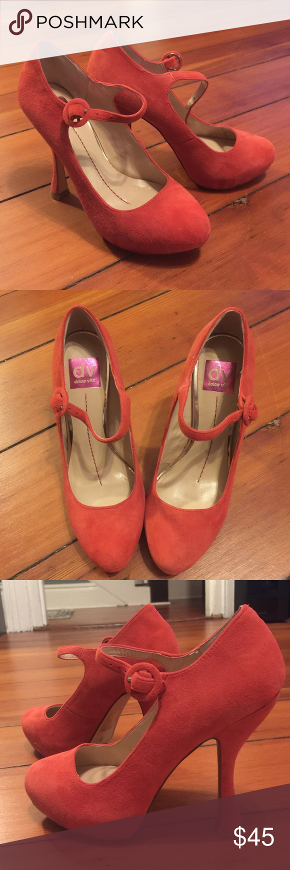 Dolce Vita Mary Jane suede platforms! These shoes are adorable and unique. Just a touch too small for me.  They are red suede with a hidden platform in front and Mary Jane style.  Only worn once, but as you can see the one time involved a good amount of walking.  Would be super comfortable if you are a true size 7 or even a large 6.5. Dolce Vita Shoes Heels