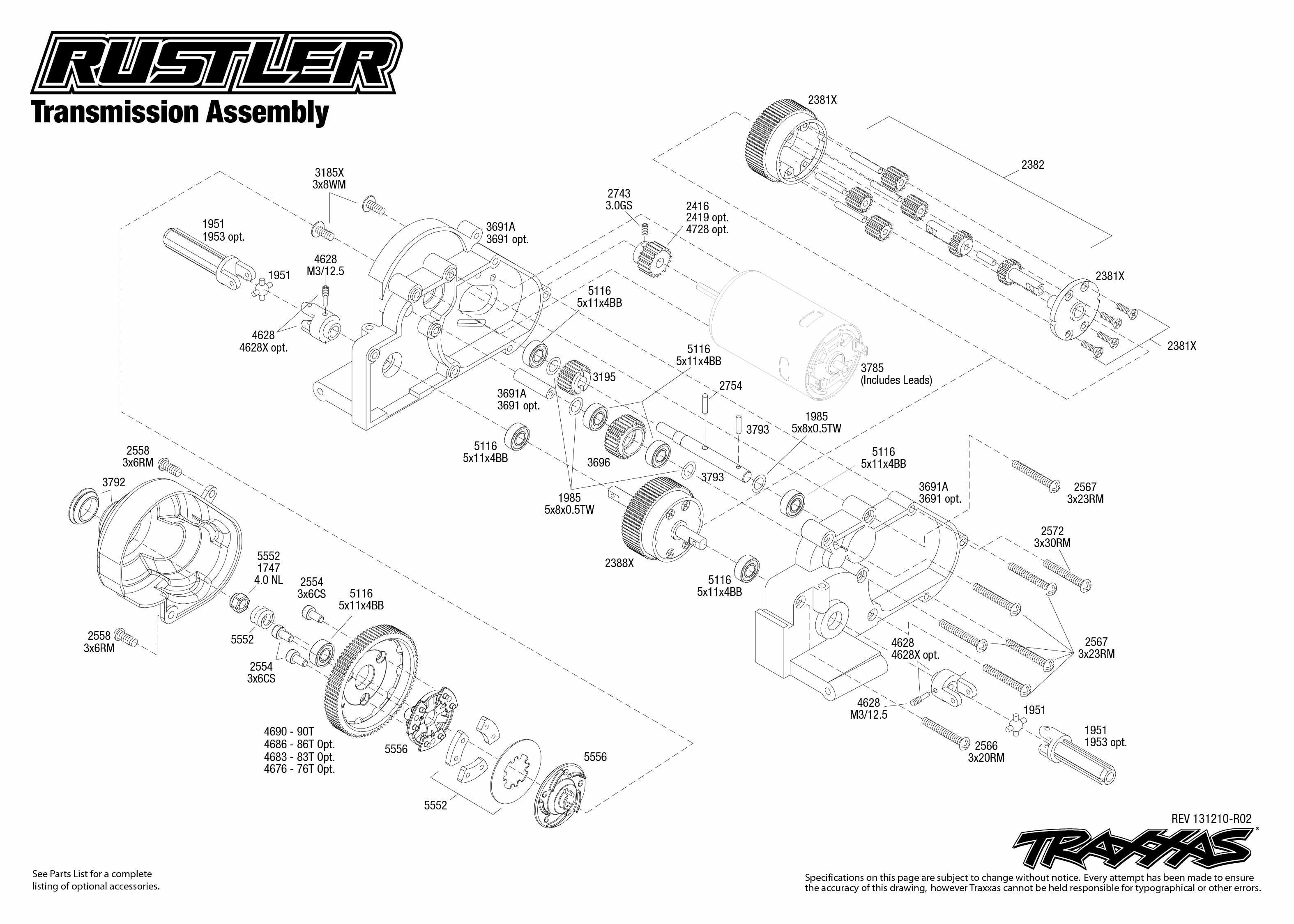 Image result for traxxas rustler parts diagram | Traxxas