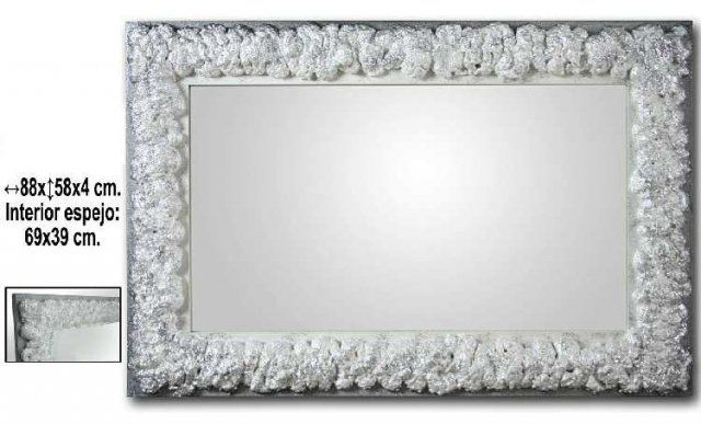 Espejo madera plateado medidas 88x58x4cm interior espejo - Espejos marco plateado ...