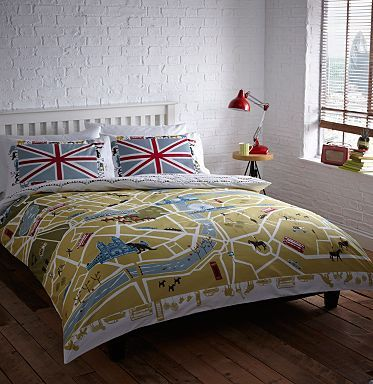 Green 'London Map' bedding set - Duvet covers & pillow cases - Bedding - Home & furniture -