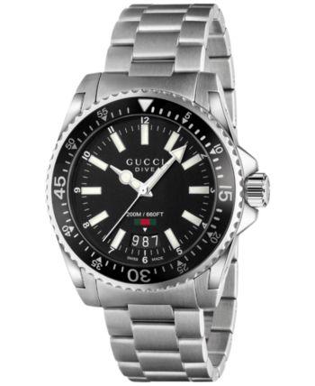c0156c6c24b Gucci Unisex Swiss Dive Stainless Steel Bracelet Watch 40mm YA136301 -  Sliver