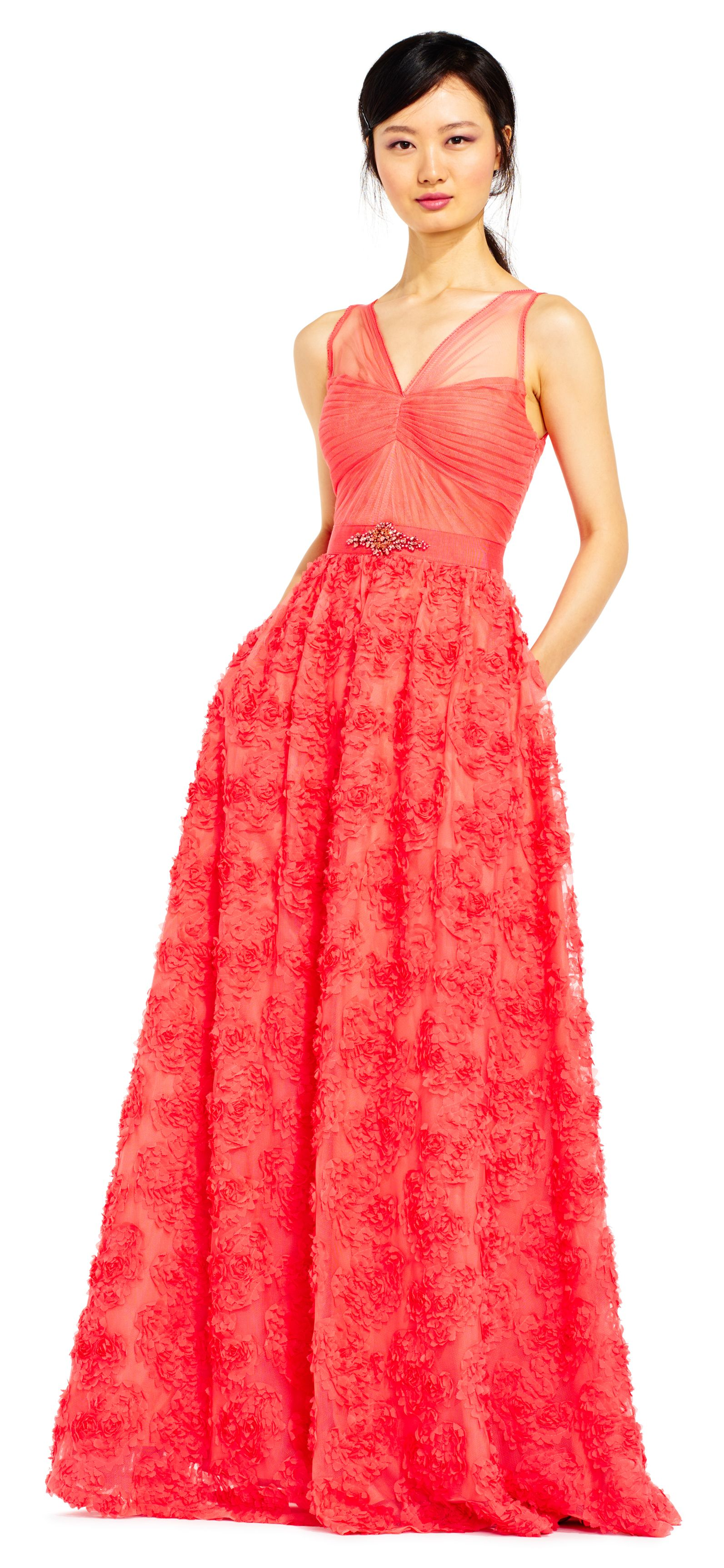 9f9695f66a77 Embellished Petal Chiffon Ball Gown | Adrianna Papell | Bridesmaids ...