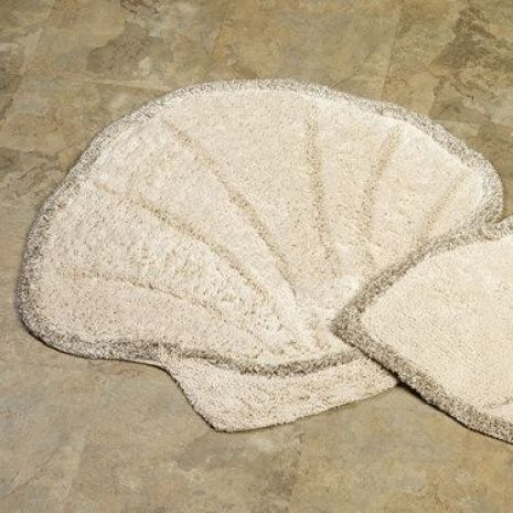 Genial The Cotton And Linen Scallop Shell Bath Rugs Have A Soft, Tufted Surface.  These Environmentally Friendly, Seashell Bathroom Rugs Are Made Without  Dyes;