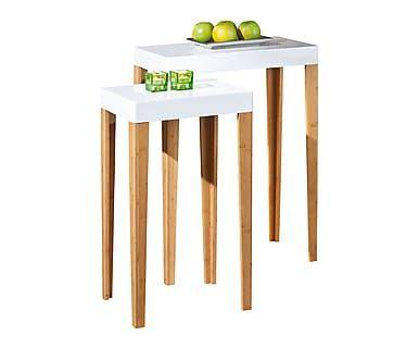 Set de 2 mesas auxiliares en madera DM y bambú Phil Mesitas - mesitas de madera