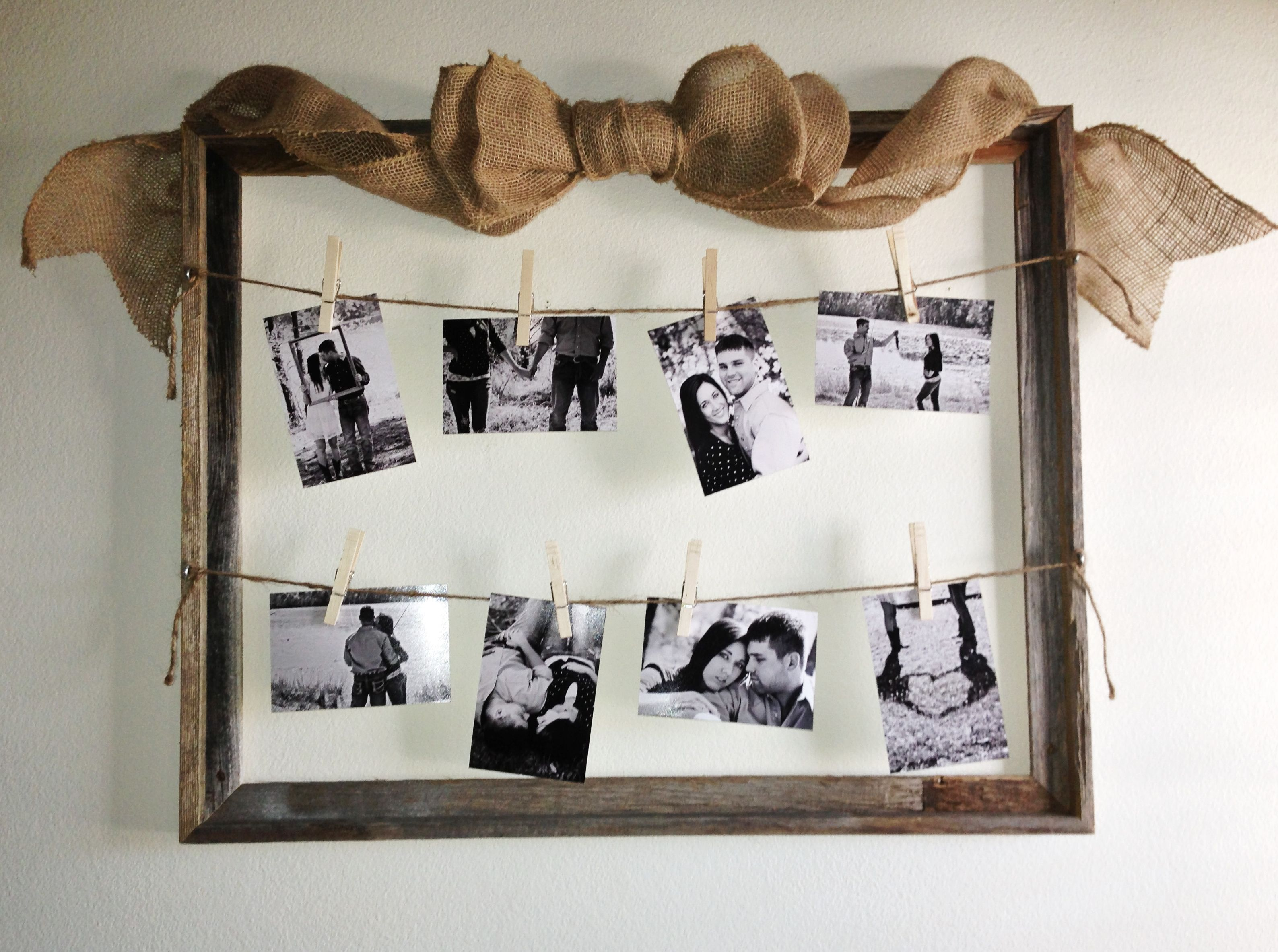 Black and white photos, clothes pins, twine, vintage/rustic style ...