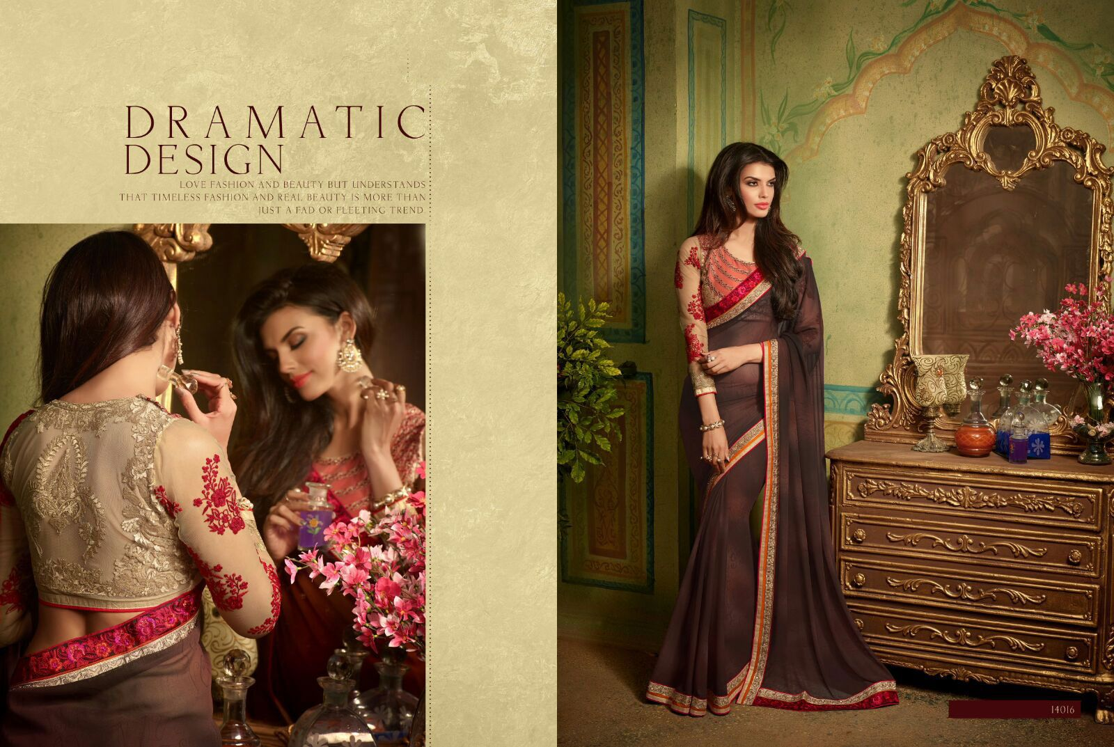 Rich look attire to give your a right choice for any party or function. Real beauty comes out from your dressing style with this brown georgette designer saree. This lovely attire is looking extra beautiful with embelishment of embroidered and patch border work. Comes with matching blouse. (Slight variation in color, fabric & work is possible. Model images are only representative.)