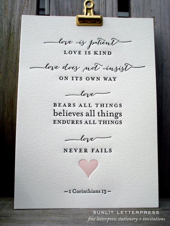 Letterpress Wedding Art Print Love Is 1 Corinthians Bible Verse