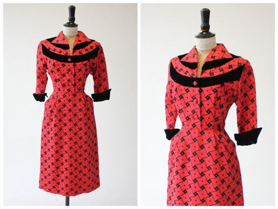 Vintage Original 1940s 40s 1950s 50s Red And Black Grosgrain And