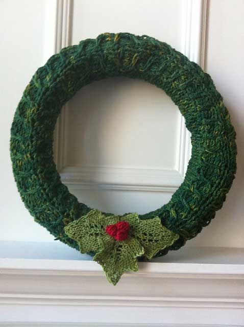 Awesome knitted wreath and the pattern proceeds are going to a great ...