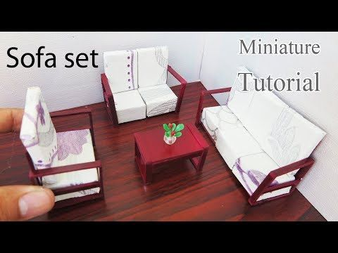 miniature dollhouse furniture woodworking. DIY Miniature Sofa Set. Dollhouse Furniture Woodworking O