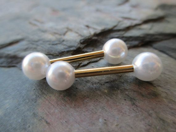 "White Faux Pearl Full Set Barbell Nipple Piercings or Tongue Rings 1/2"" 13mm 14G 14 Gauge (1.6mm) Body Jewelry"