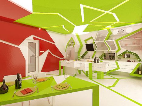 Cubism, Cubed: Green Tendrils Wrap Through White Kitchen