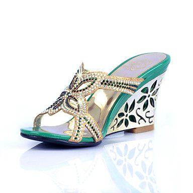 LizForm Rhinestone Evening Wedge Sandals Sophisticated Cut-Outs Dress Sandal