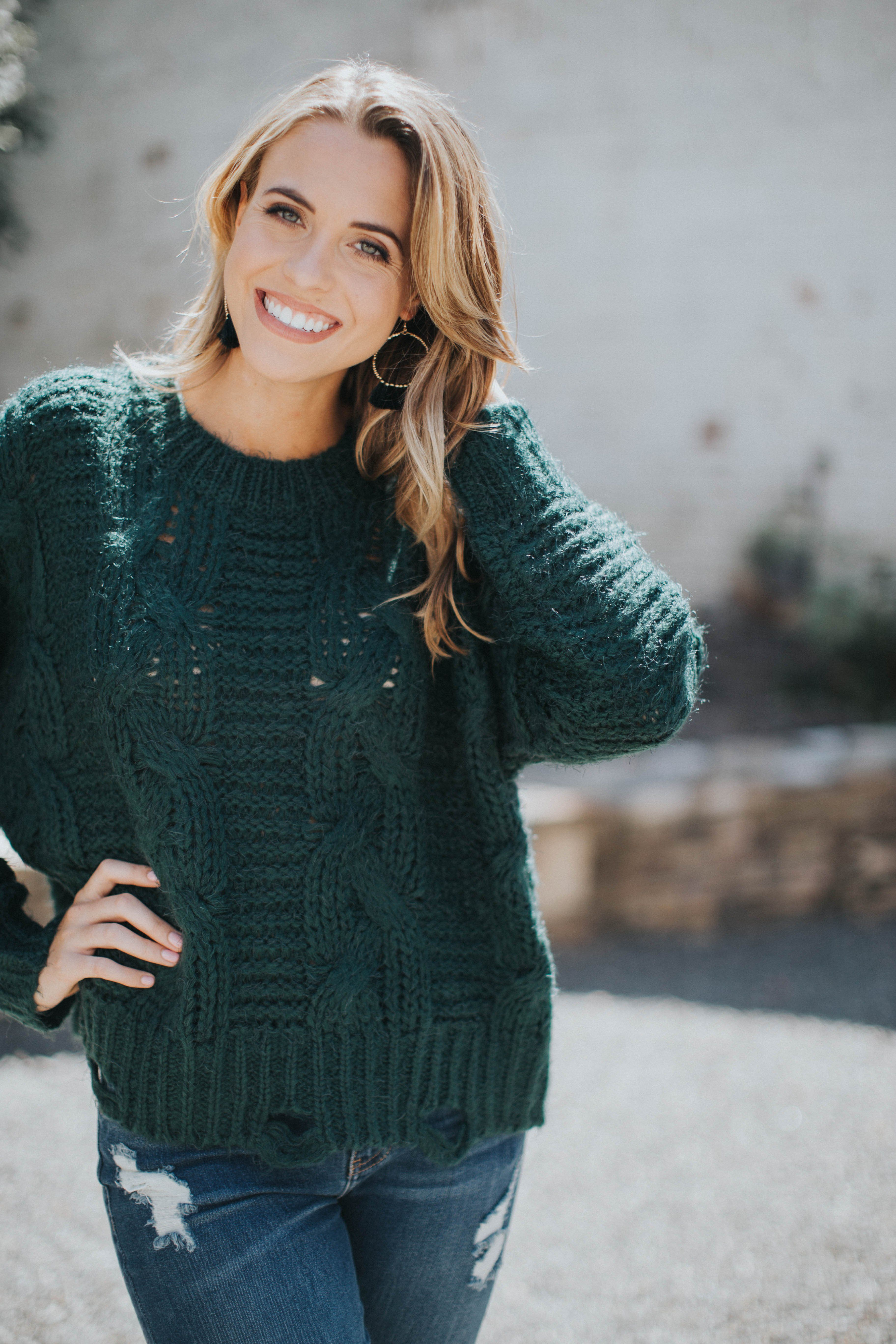 Distressed Cable Knit Sweater Hunter Green Products Pinterest