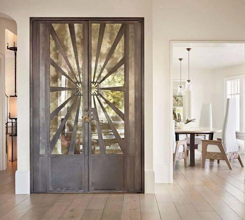 Beautiful Art Deco doors metal and antique mirror