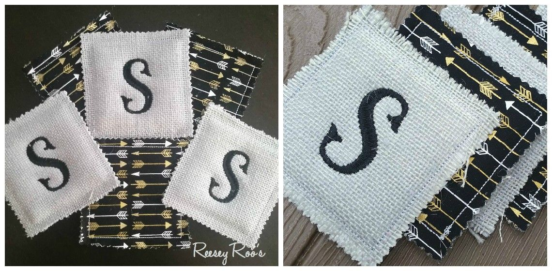 Embroidered Monogrammed Reversible Burlap Coasters Set   Sassy Steals