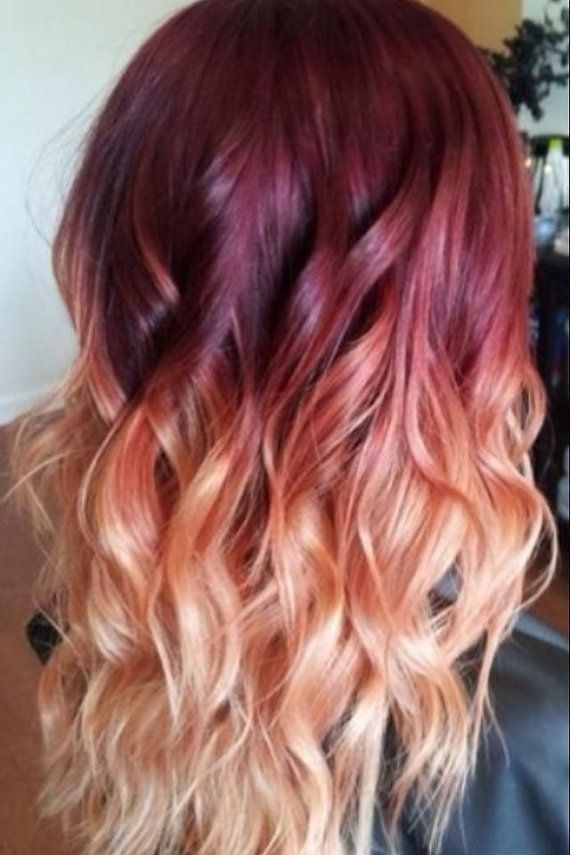 Red Violet Peach Ombre Hair Auburn Ombre par