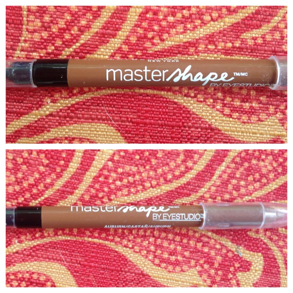 Maybelline eyebrow in auburn, swatched once, has pencil on