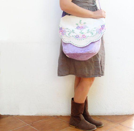 Fold Top Shoulder Bag  Vintage Hand embroidered Linen by StarBags, $114.00