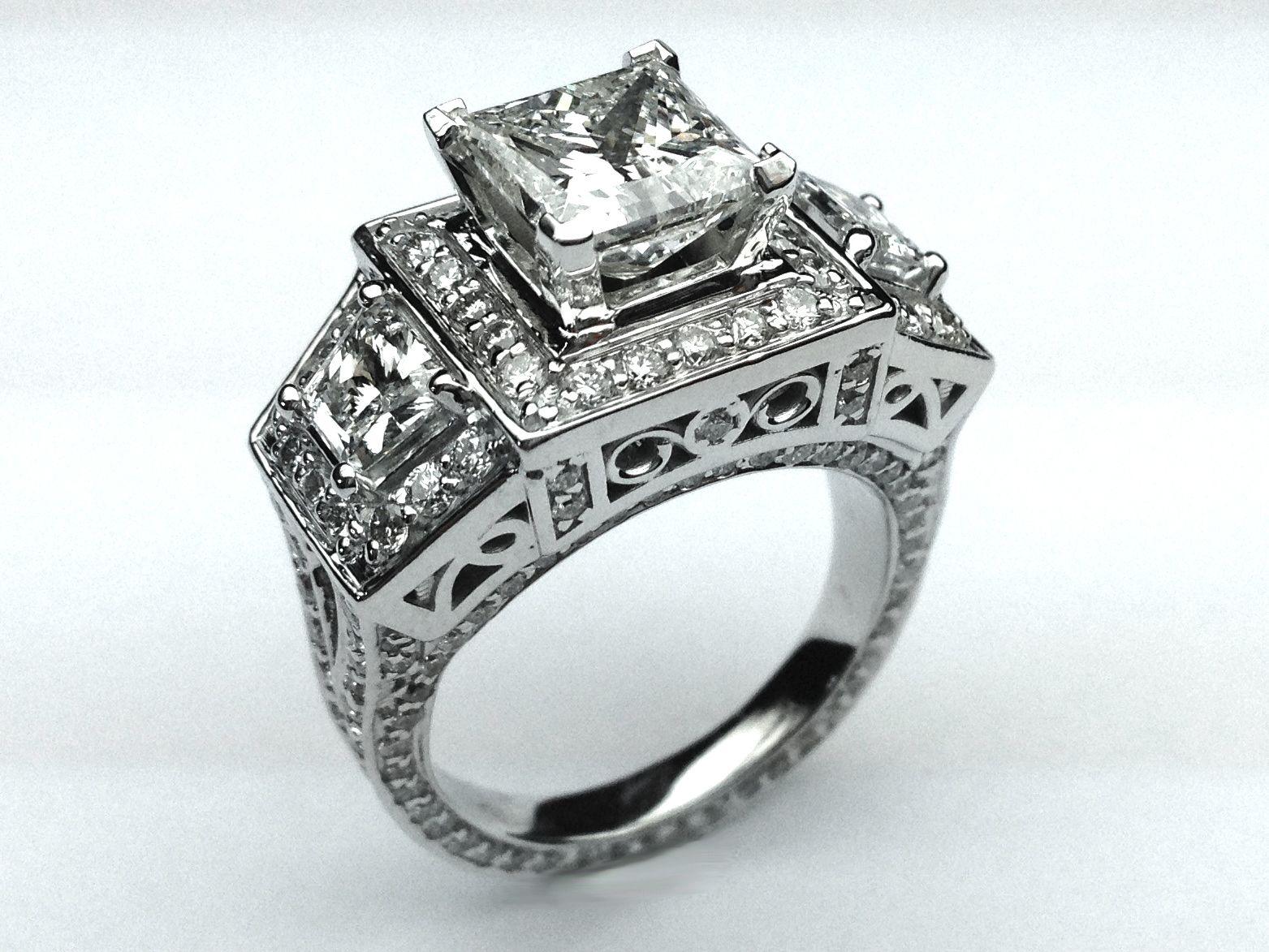 Large Princess Cut Diamond Engagement Ring Brilliant Trapezoids Side Diamonds