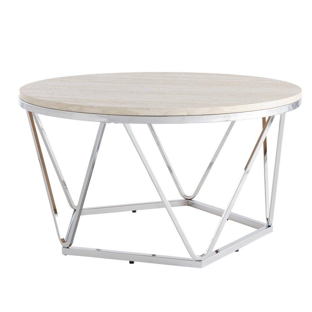 Laconia Faux Stone Round Coffee Table White Silver Aiden Lane White Round Coffee Table Round Coffee Table Coffee Table [ 1000 x 1000 Pixel ]