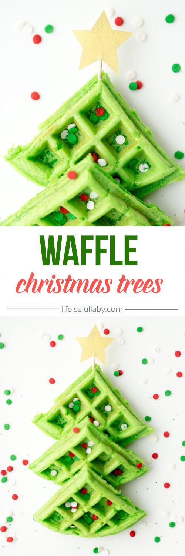 Christmas Tree Waffles - Christmas Breakfast Idea