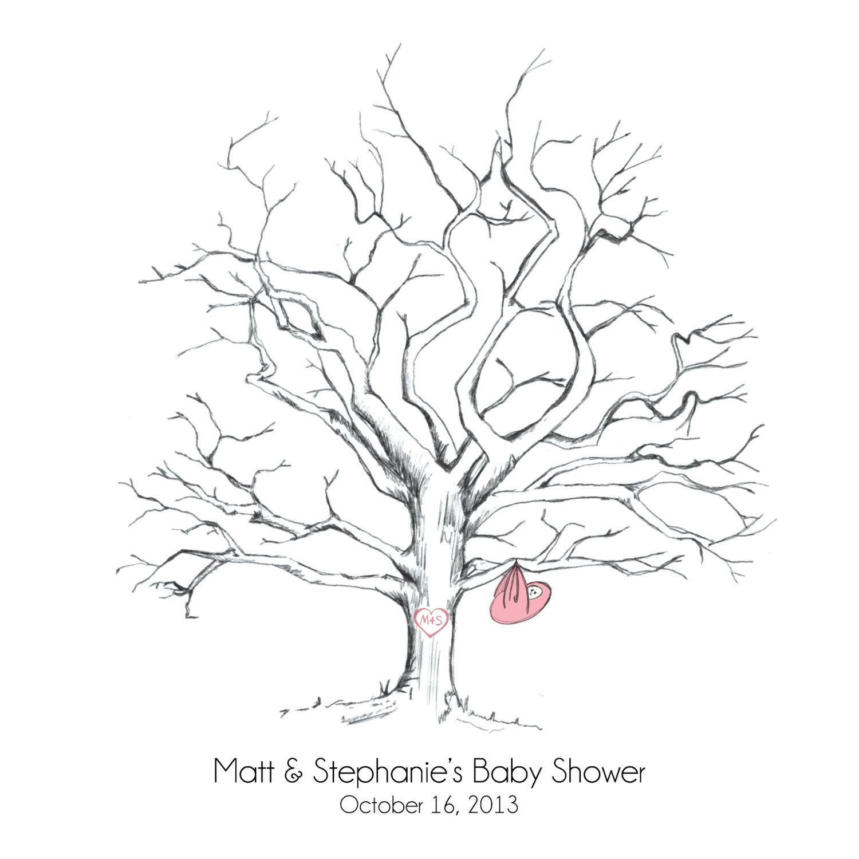 Printable Hand Drawn Baby Shower Fingerprint Tree Guestbook Pdf