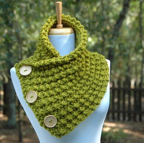 Chunky Knit Lemongrass Green Button Scarf Cowl with Wood Buttons ...