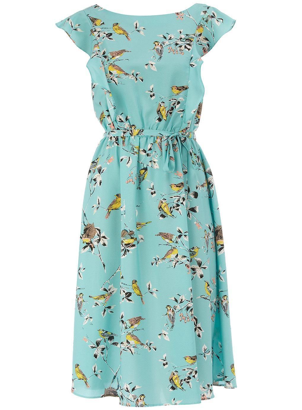 Dorothy Perkins Aqua Bird Tea Dress | Pretty Dresses I Would Wear If ...