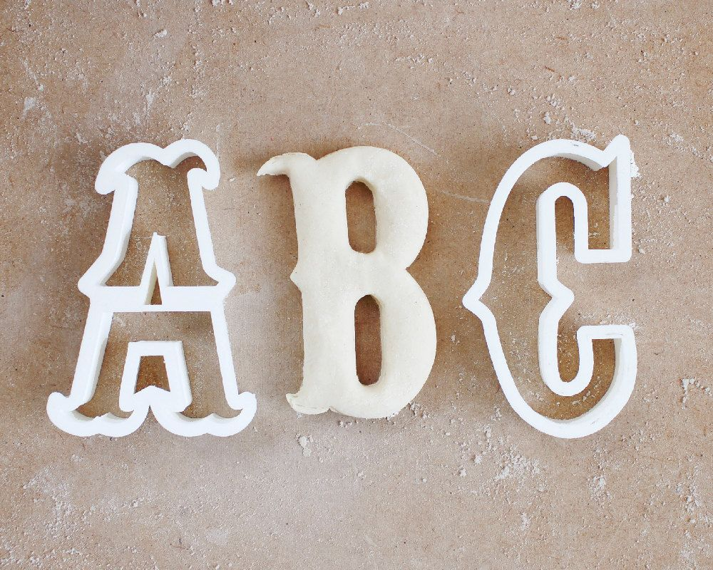 carnival letter cookie cutter vintage circus typography font alphabet 3d printed 200 eur by