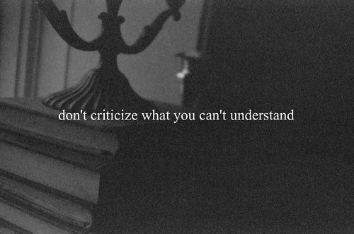 """""""Don't criticize what you can't understand."""" -Unknown."""