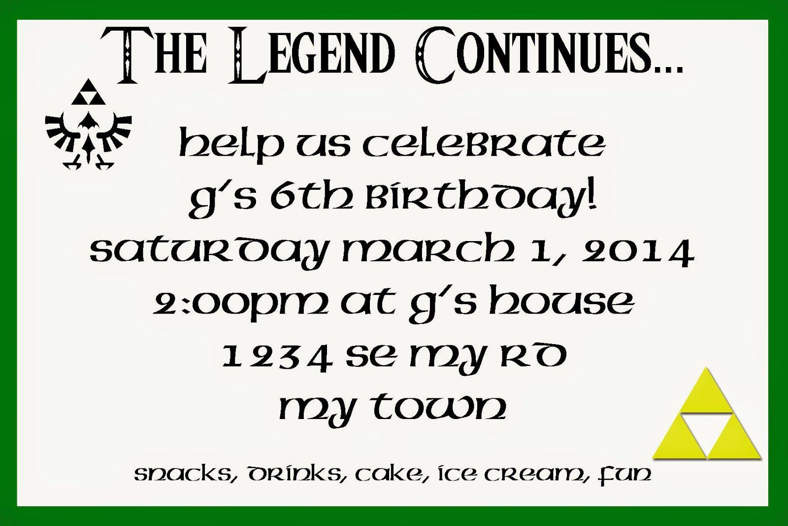 Legend of zelda link themed birthday party invitation party legend of zelda link themed birthday party invitation stopboris Gallery