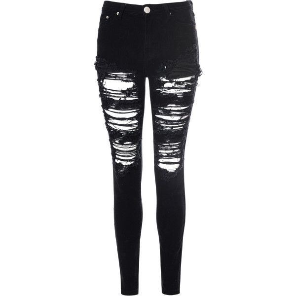 76bbaa0345d Black Heavily Ripped Jeans (£36) ❤ liked on Polyvore featuring jeans