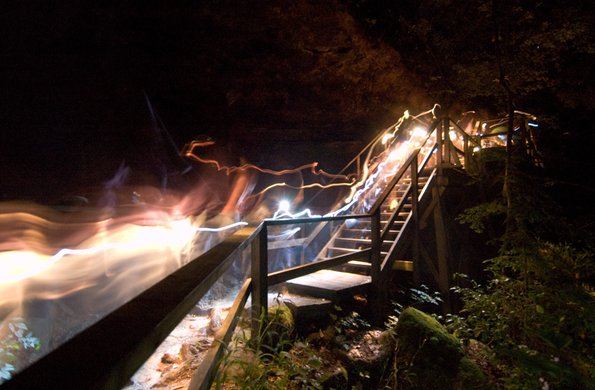 "After dark, the canyon lights up with tiny ""glow worms,"" the bioluminescent creatures known as Dismalites. Vistitors can see these unique insects on guided night tours. Tour times change throughout the year, but during the summer are offered on Friday and Saturday nights at 8:30 p.m."