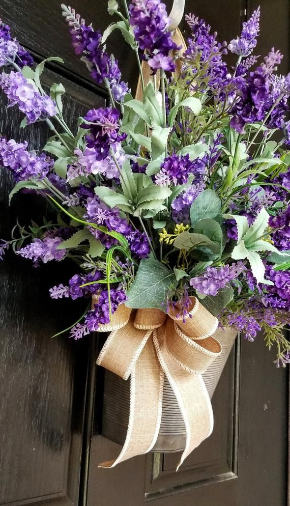 Photo of Wreaths for front door, peasant wreath, bucket wreath, spring wreath, summer wreath, spring door D.