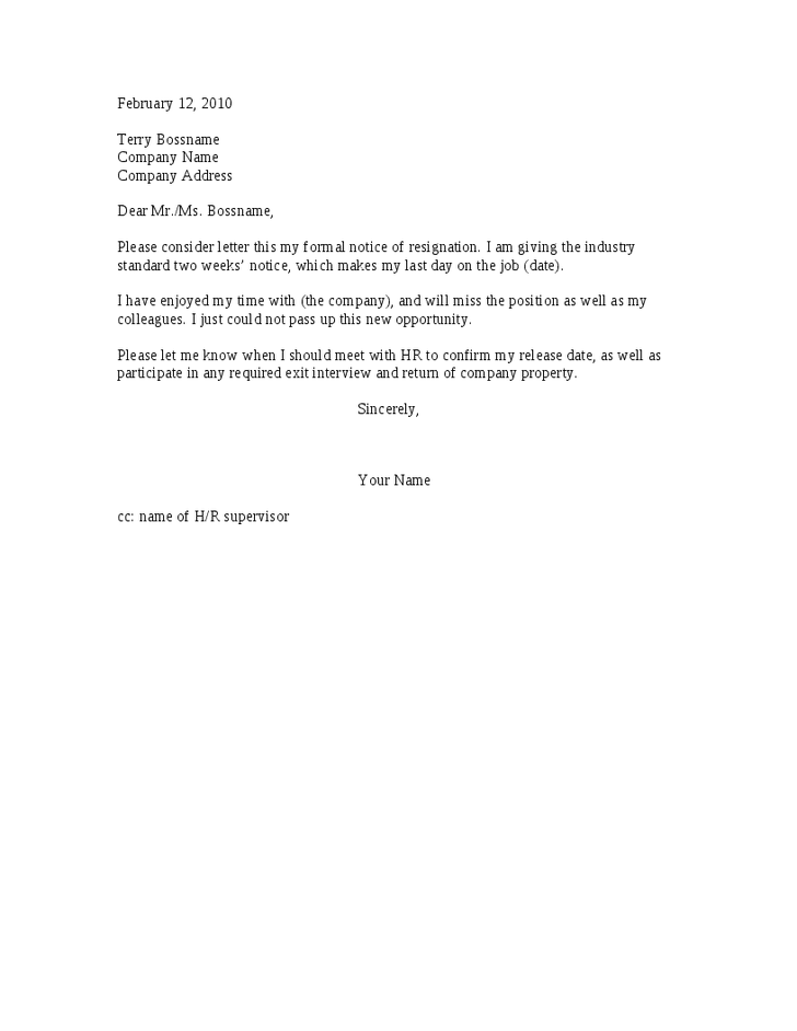 Two Week Notice Resignation Letter pics Pinterest – 2 Week Resignation Letter