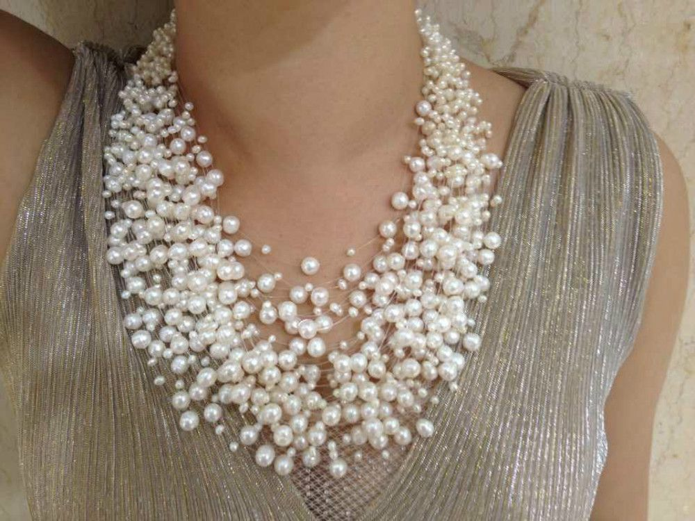 Aliexpress Com Buy 30 Layers Wedding Pearl Necklace