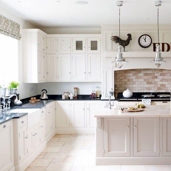 Best White Kitchen White Cabinetry Brick Splashback Island Unit 400 x 300